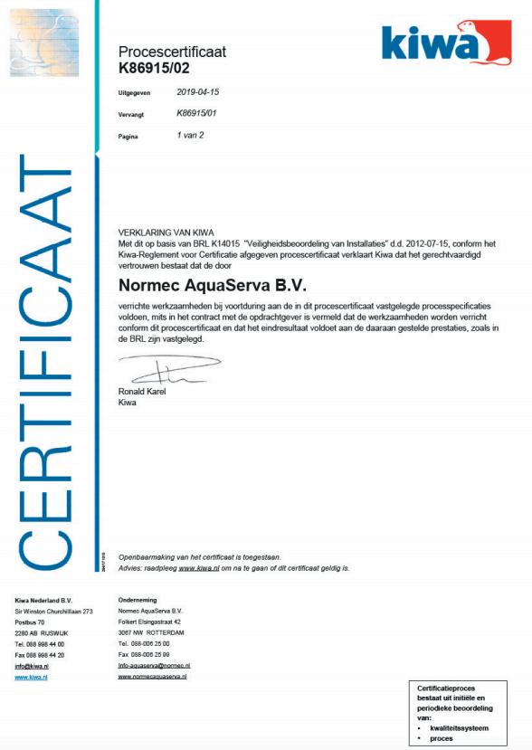 BRL – K14015 – K86915 certificaat