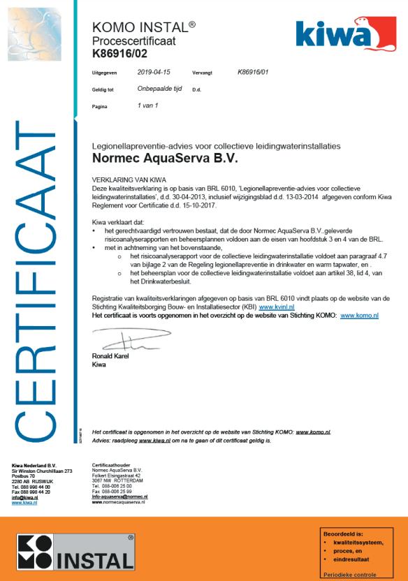 BRL – K6010 – K86916 certificaat